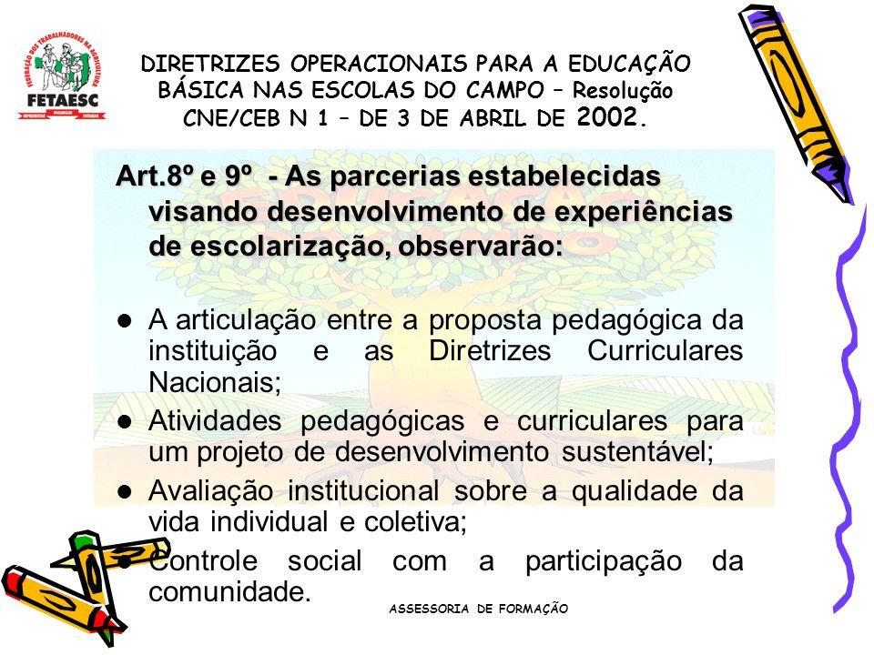 ASSESSORIA DE FORMAÇÃO Gestão Democrática nas escolas do campo Art.