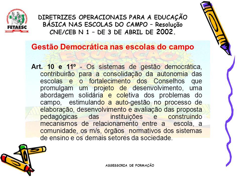ASSESSORIA DE FORMAÇÃO Formação dos Professores do Campo Art.
