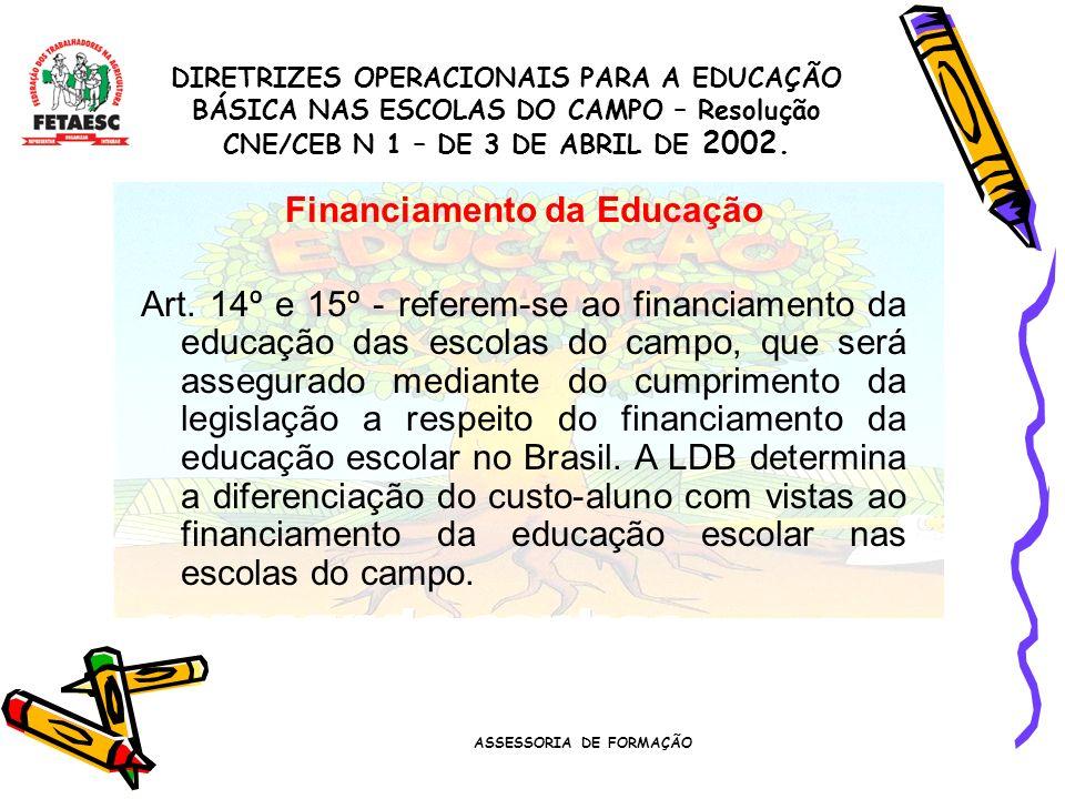 ASSESSORIA DE FORMAÇÃO Programas de Educação do Campo no Governo Federal Escolarização de 5ª a 8ª séries do Ensino Fundamental para Jovens Agricultores Familiares Programa Saberes da Terra Formação dos Professores\as e educadores do campo Alfabetização de Jovens e Adultos Brasil Alfabetizado Resolução para concorrência pública para Poder público e entidades da sociedade civil Licenciatura em Educação do Campo Formação ´ na Educação Superior – graduação para os educadores do campo