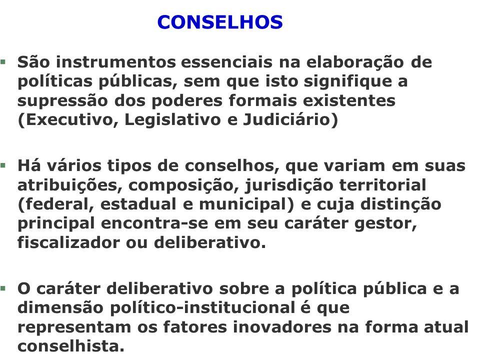 CONSELHOS §São instrumentos essenciais na elaboração de políticas públicas, sem que isto signifique a supressão dos poderes formais existentes (Execut