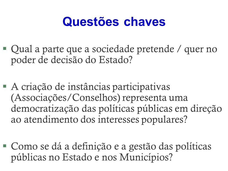 Questões chaves §Qual a parte que a sociedade pretende / quer no poder de decisão do Estado? §A criação de instâncias participativas (Associações/Cons
