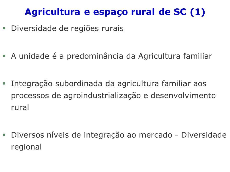 Agricultura e espaço rural de SC (1) §Diversidade de regiões rurais §A unidade é a predominância da Agricultura familiar §Integração subordinada da agricultura familiar aos processos de agroindustrialização e desenvolvimento rural §Diversos níveis de integração ao mercado - Diversidade regional