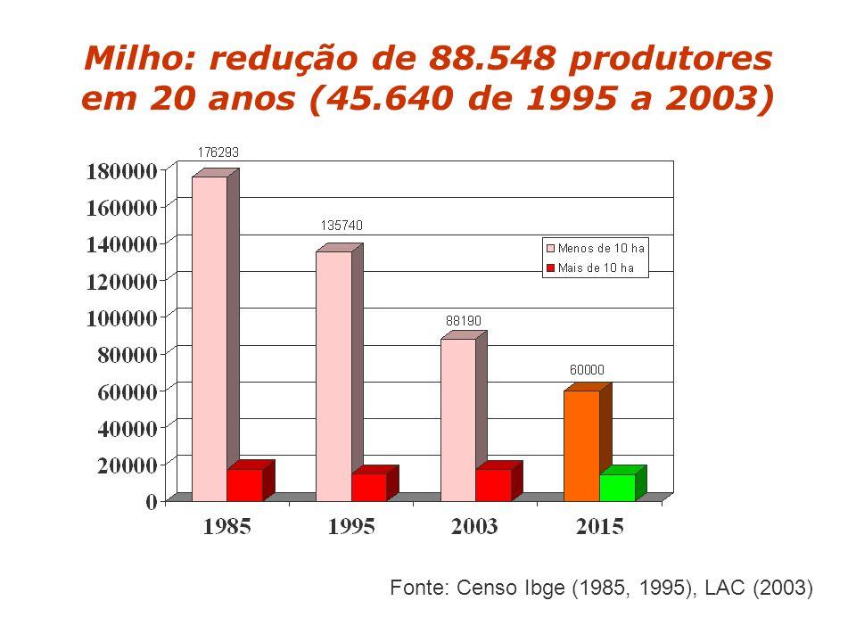 Milho: redução de 88.548 produtores em 20 anos (45.640 de 1995 a 2003) Fonte: Censo Ibge (1985, 1995), LAC (2003)