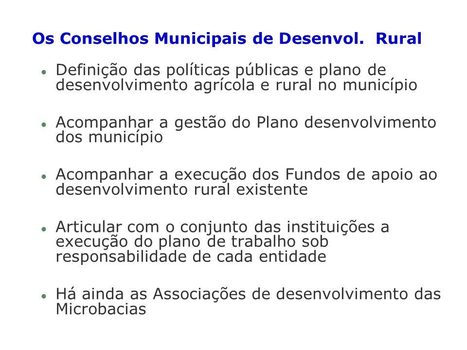 Os Conselhos Municipais de Desenvol. Rural l Definição das políticas públicas e plano de desenvolvimento agrícola e rural no município l Acompanhar a