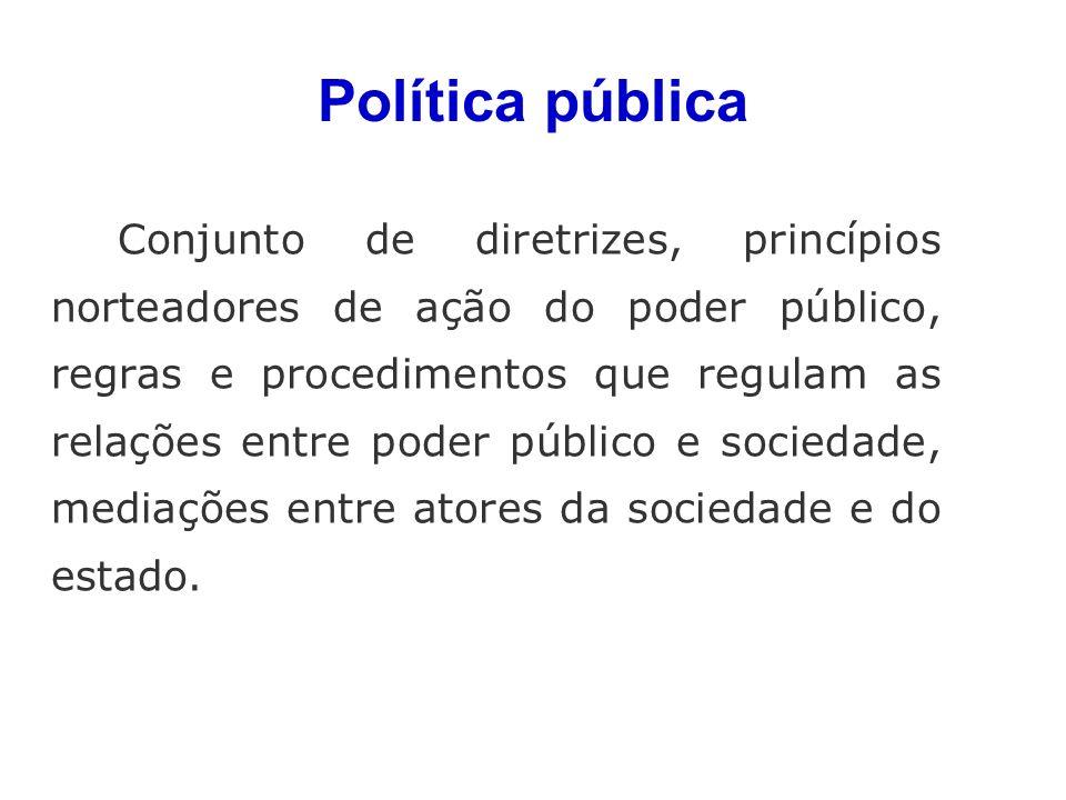 Política pública Conjunto de diretrizes, princípios norteadores de ação do poder público, regras e procedimentos que regulam as relações entre poder público e sociedade, mediações entre atores da sociedade e do estado.