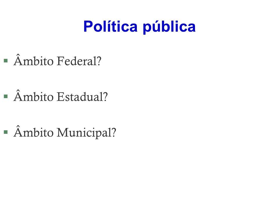 Política pública §Âmbito Federal? §Âmbito Estadual? §Âmbito Municipal?