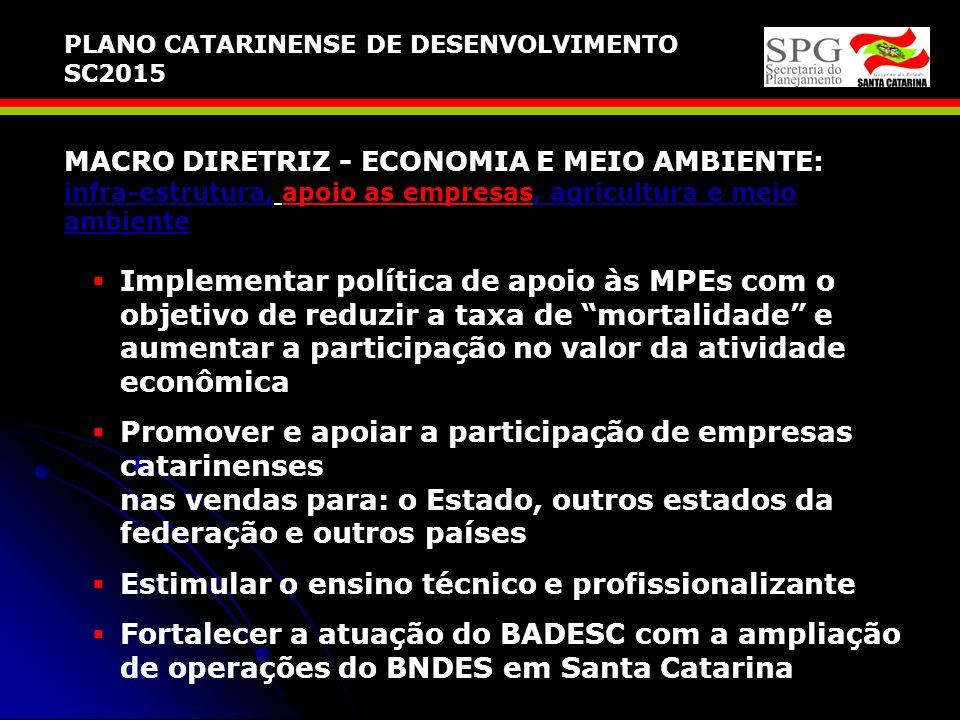 MACRO DIRETRIZ - ECONOMIA E MEIO AMBIENTE: infra-estrutura, apoio as empresas, agricultura e meio ambiente Potencializar os sistemas logísticos do Est