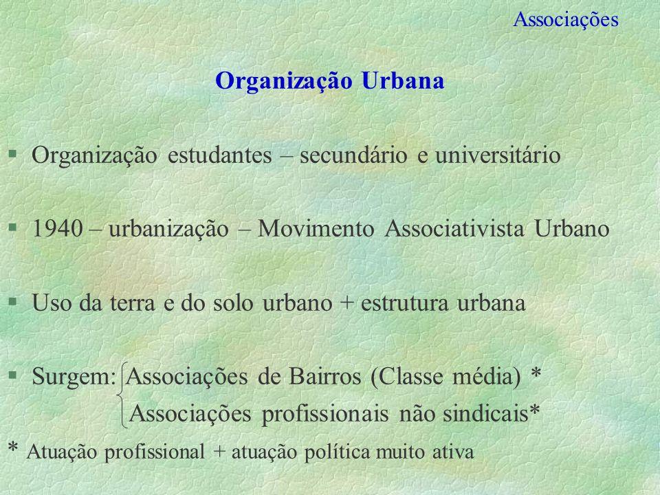 Associações Organização Urbana §Organização estudantes – secundário e universitário §1940 – urbanização – Movimento Associativista Urbano §Uso da terr