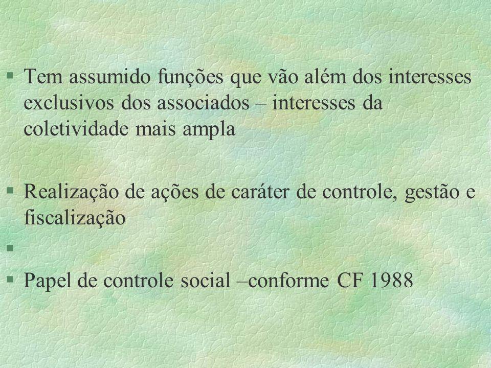 §Tem assumido funções que vão além dos interesses exclusivos dos associados – interesses da coletividade mais ampla §Realização de ações de caráter de