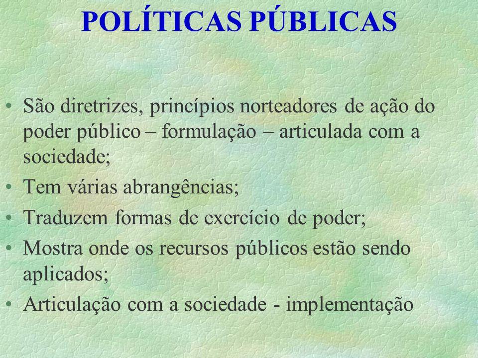 POLÍTICAS PÚBLICAS São diretrizes, princípios norteadores de ação do poder público – formulação – articulada com a sociedade; Tem várias abrangências;