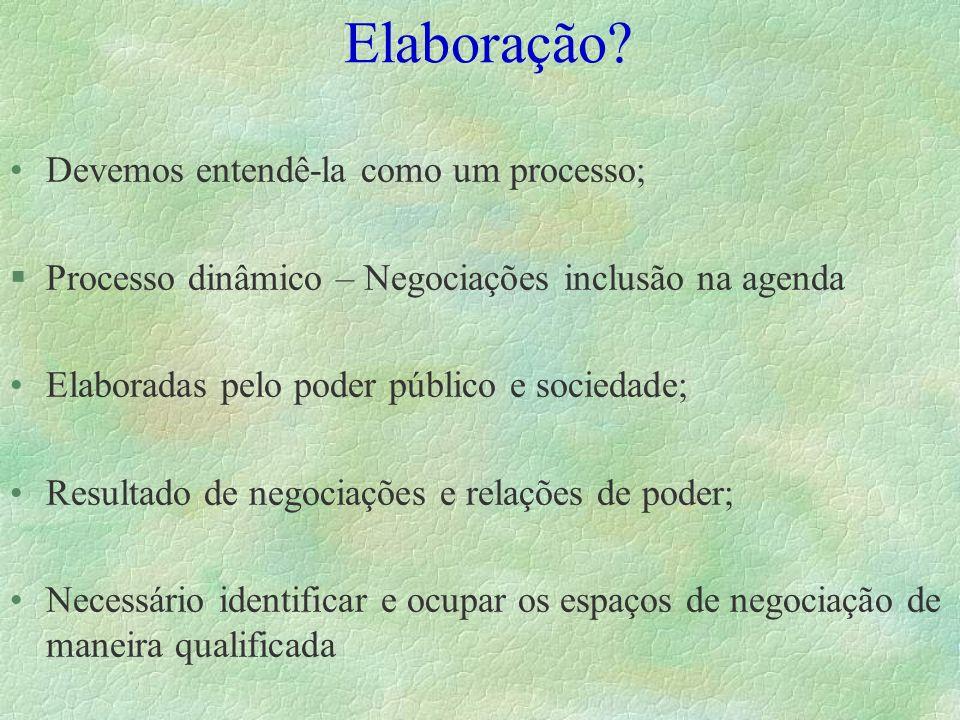Elaboração? Devemos entendê-la como um processo; §Processo dinâmico – Negociações inclusão na agenda Elaboradas pelo poder público e sociedade; Result
