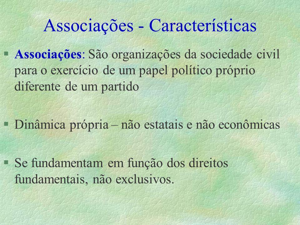 Associações - Características §Associações: São organizações da sociedade civil para o exercício de um papel político próprio diferente de um partido