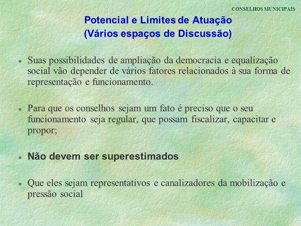 CONSELHOS MUNICIPAIS Potencial e Limites de Atuação (Vários espaços de Discussão) l Suas possibilidades de ampliação da democracia e equalização socia