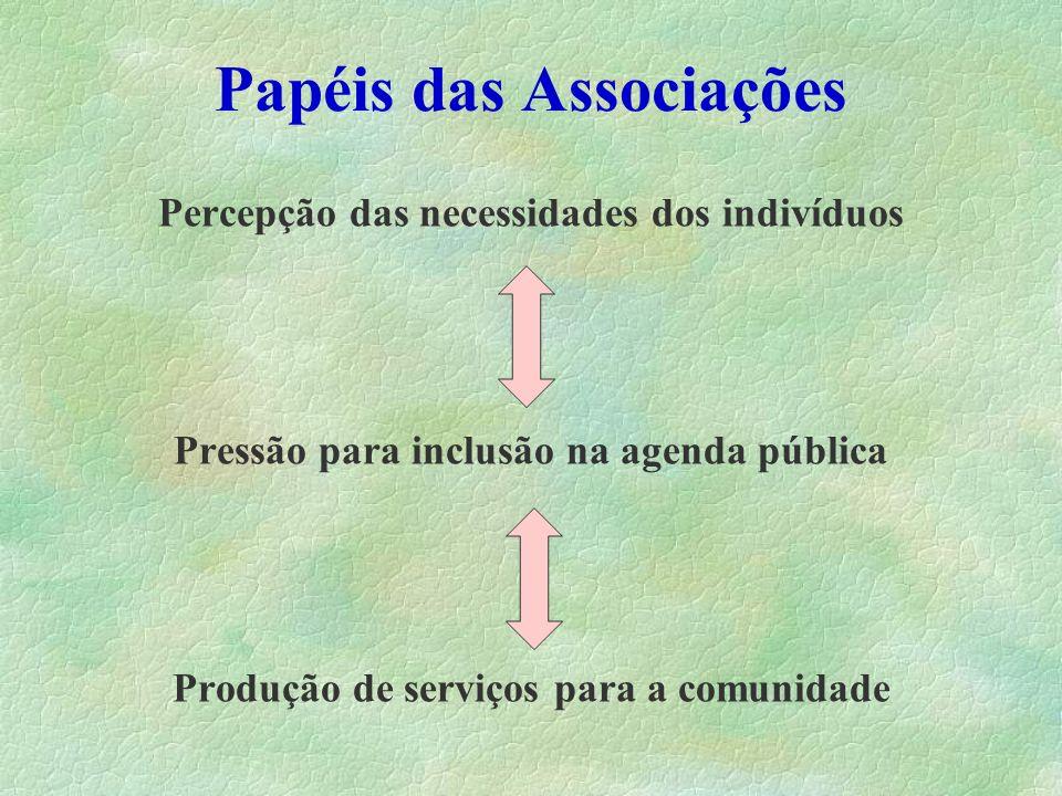 Papéis das Associações Percepção das necessidades dos indivíduos Pressão para inclusão na agenda pública Produção de serviços para a comunidade