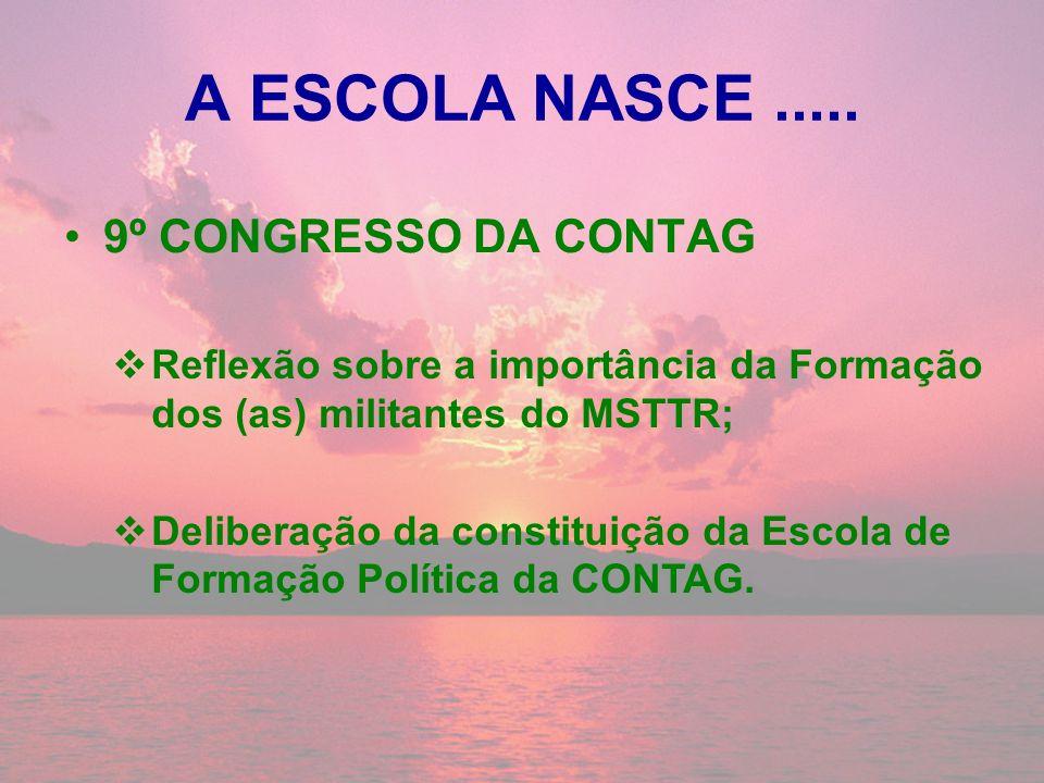 A ESCOLA NASCE..... 9º CONGRESSO DA CONTAG Reflexão sobre a importância da Formação dos (as) militantes do MSTTR; Deliberação da constituição da Escol