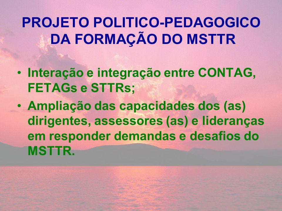 PROJETO POLITICO-PEDAGOGICO DA FORMAÇÃO DO MSTTR Interação e integração entre CONTAG, FETAGs e STTRs; Ampliação das capacidades dos (as) dirigentes, a