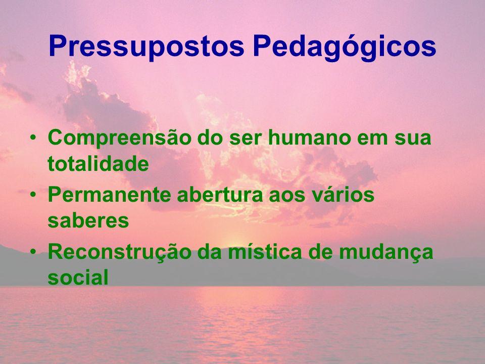 Pressupostos Pedagógicos Compreensão do ser humano em sua totalidade Permanente abertura aos vários saberes Reconstrução da mística de mudança social