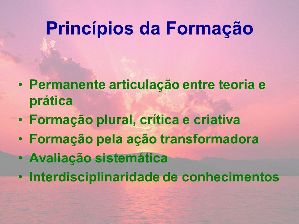 Princípios da Formação Permanente articulação entre teoria e prática Formação plural, crítica e criativa Formação pela ação transformadora Avaliação s