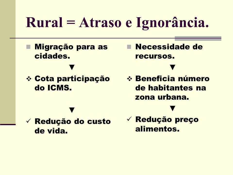 Rural = Atraso e Ignorância. Migração para as cidades. Cota participação do ICMS. Redução do custo de vida. Necessidade de recursos. Beneficia número