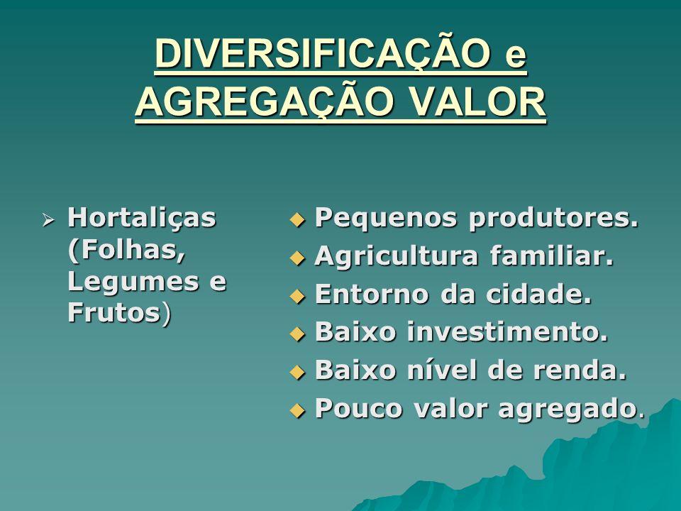 DIVERSIFICAÇÃO e AGREGAÇÃO VALOR Hortaliças (Folhas, Legumes e Frutos) Hortaliças (Folhas, Legumes e Frutos) Pequenos produtores. Pequenos produtores.