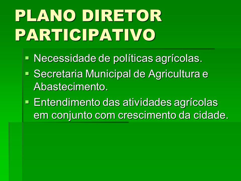 PLANO DIRETOR PARTICIPATIVO Necessidade de políticas agrícolas. Necessidade de políticas agrícolas. Secretaria Municipal de Agricultura e Abasteciment