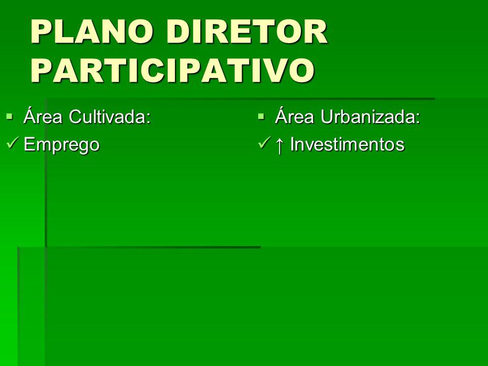 PLANO DIRETOR PARTICIPATIVO Área Cultivada: Área Cultivada: Emprego Emprego Área Urbanizada: Área Urbanizada: Investimentos Investimentos