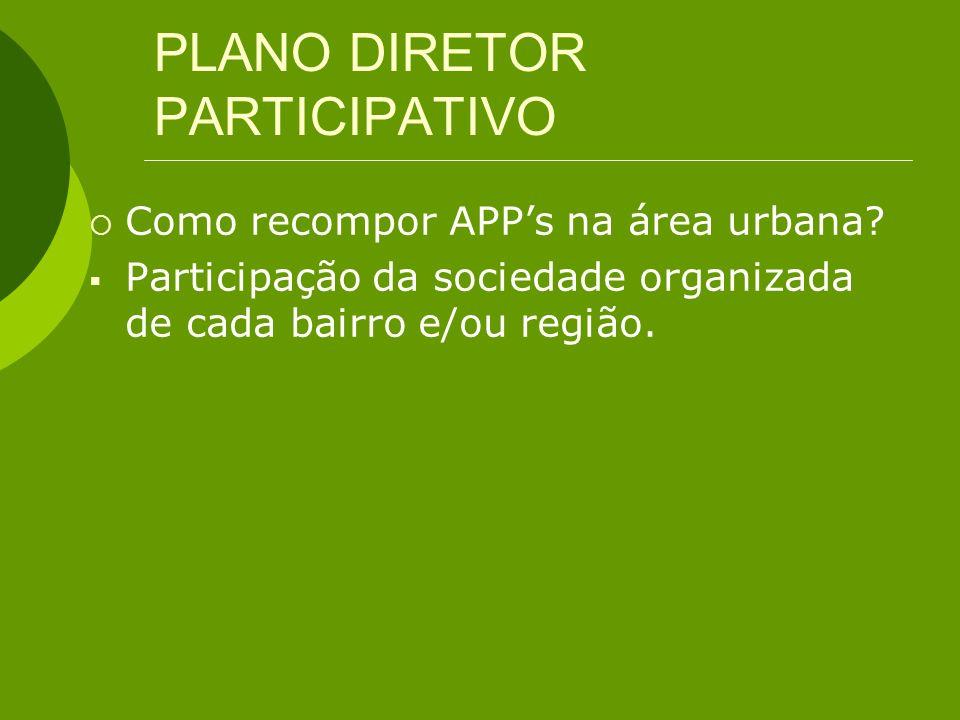 PLANO DIRETOR PARTICIPATIVO Como recompor APPs na área urbana? Participação da sociedade organizada de cada bairro e/ou região.