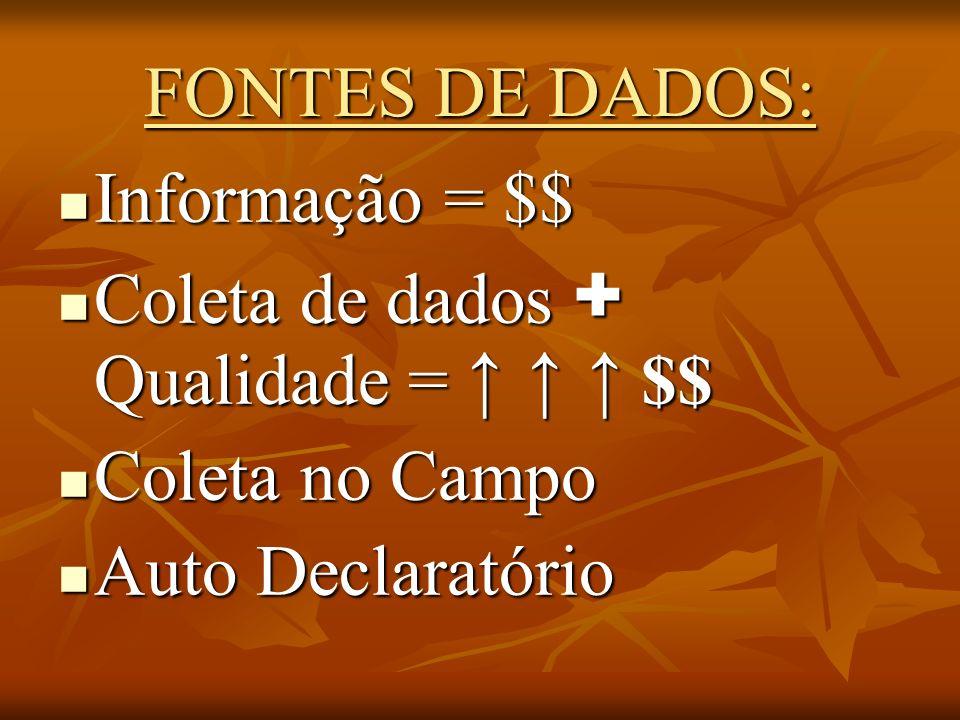FONTES DE DADOS: Informação = $$ Informação = $$ Coleta de dados + Qualidade = $$ Coleta de dados + Qualidade = $$ Coleta no Campo Coleta no Campo Aut