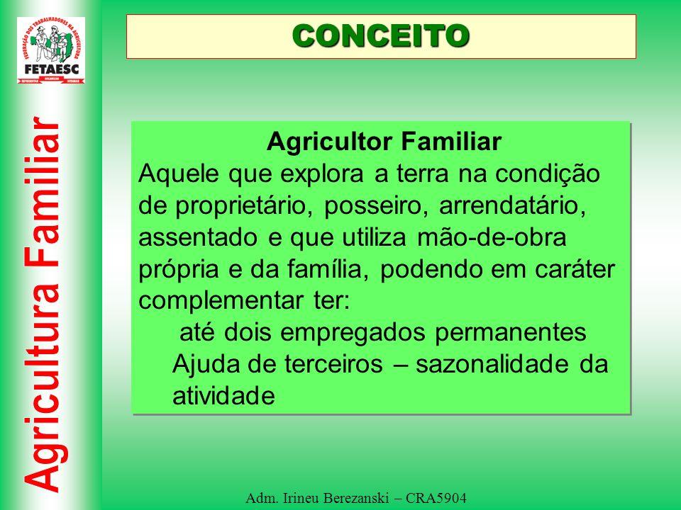 Adm. Irineu Berezanski – CRA5904 CONCEITO Agricultor Familiar Aquele que explora a terra na condição de proprietário, posseiro, arrendatário, assentad