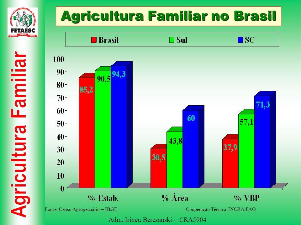 Adm. Irineu Berezanski – CRA5904 Agricultura Familiar no Brasil Fonte: Censo Agropecuário – IBGE Cooperação Técnica INCRA/FAO