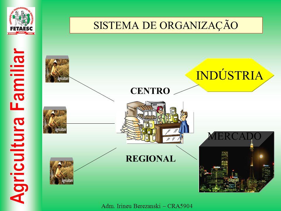 Adm. Irineu Berezanski – CRA5904 SISTEMA DE ORGANIZAÇÃO INDÚSTRIA MERCADO CENTRO REGIONAL