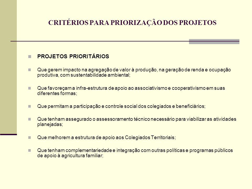 CRITÉRIOS PARA PRIORIZAÇÃO DOS PROJETOS PROJETOS PRIORITÁRIOS Que gerem impacto na agregação de valor à produção, na geração de renda e ocupação produtiva, com sustentabilidade ambiental; Que favoreçam a infra-estrutura de apoio ao associativismo e cooperativismo em suas diferentes formas; Que permitam a participação e controle social dos colegiados e beneficiários; Que tenham assegurado o assessoramento técnico necessário para viabilizar as atividades planejadas; Que melhorem a estrutura de apoio aos Colegiados Territoriais; Que tenham complementariedade e integração com outras políticas e programas públicos de apoio à agricultura familiar;