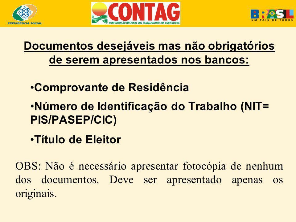 Documentos desejáveis mas não obrigatórios de serem apresentados nos bancos: Comprovante de Residência Número de Identificação do Trabalho (NIT= PIS/P
