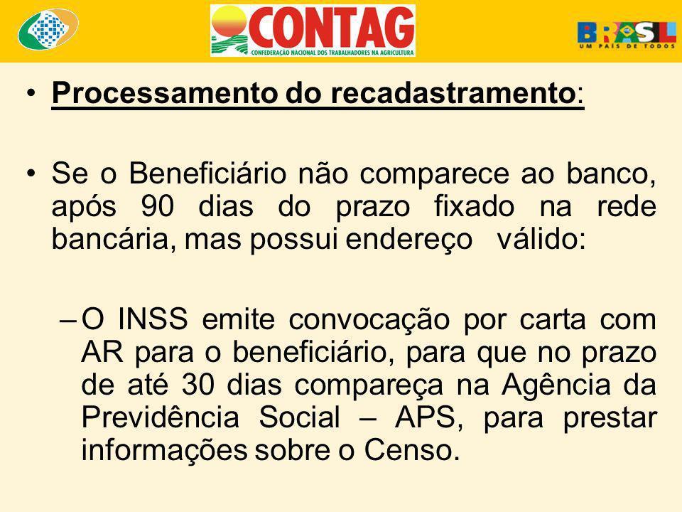 Processamento do recadastramento: Se o Beneficiário não comparece ao banco, após 90 dias do prazo fixado na rede bancária, mas possui endereço válido:
