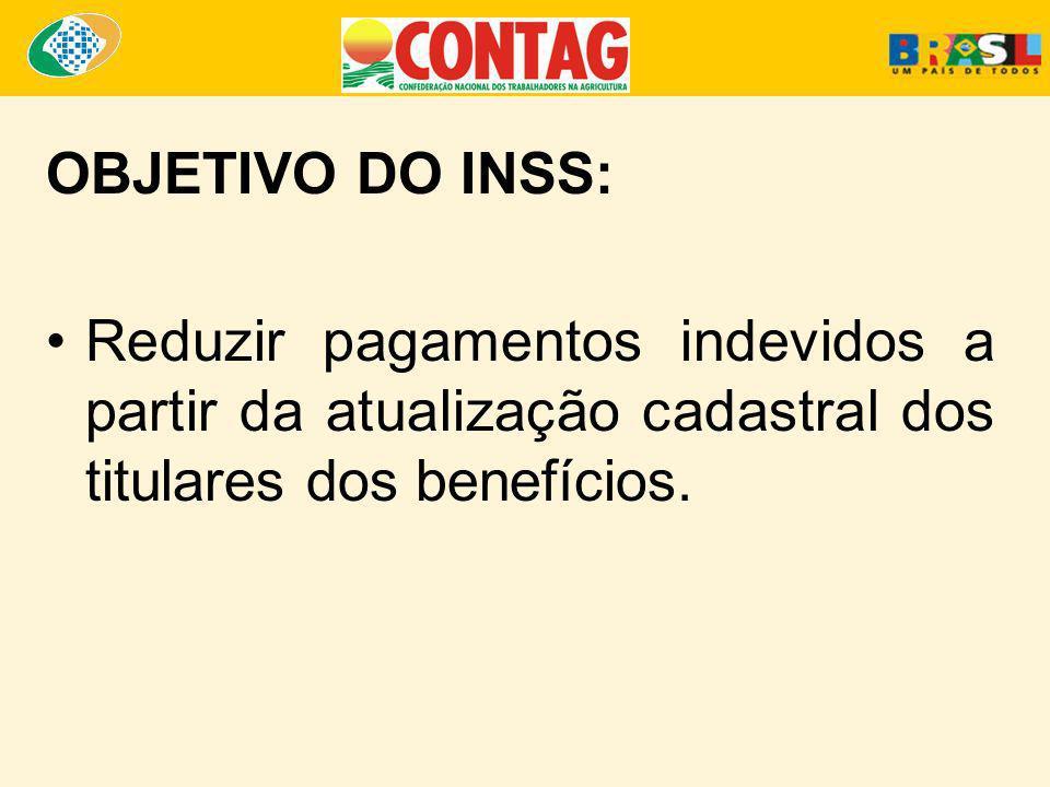 OBJETIVO DO INSS: Reduzir pagamentos indevidos a partir da atualização cadastral dos titulares dos benefícios.