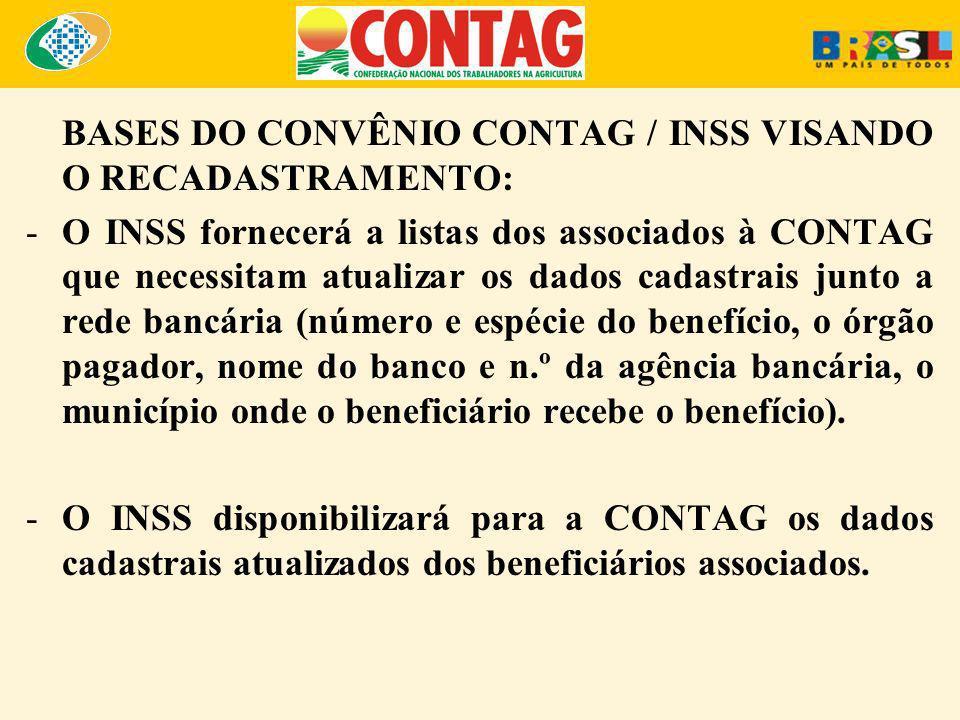 BASES DO CONVÊNIO CONTAG / INSS VISANDO O RECADASTRAMENTO: -O INSS fornecerá a listas dos associados à CONTAG que necessitam atualizar os dados cadast