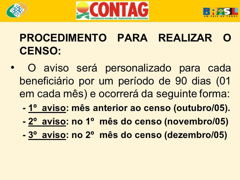 PROCEDIMENTO PARA REALIZAR O CENSO: O aviso será personalizado para cada beneficiário por um período de 90 dias (01 em cada mês) e ocorrerá da seguint
