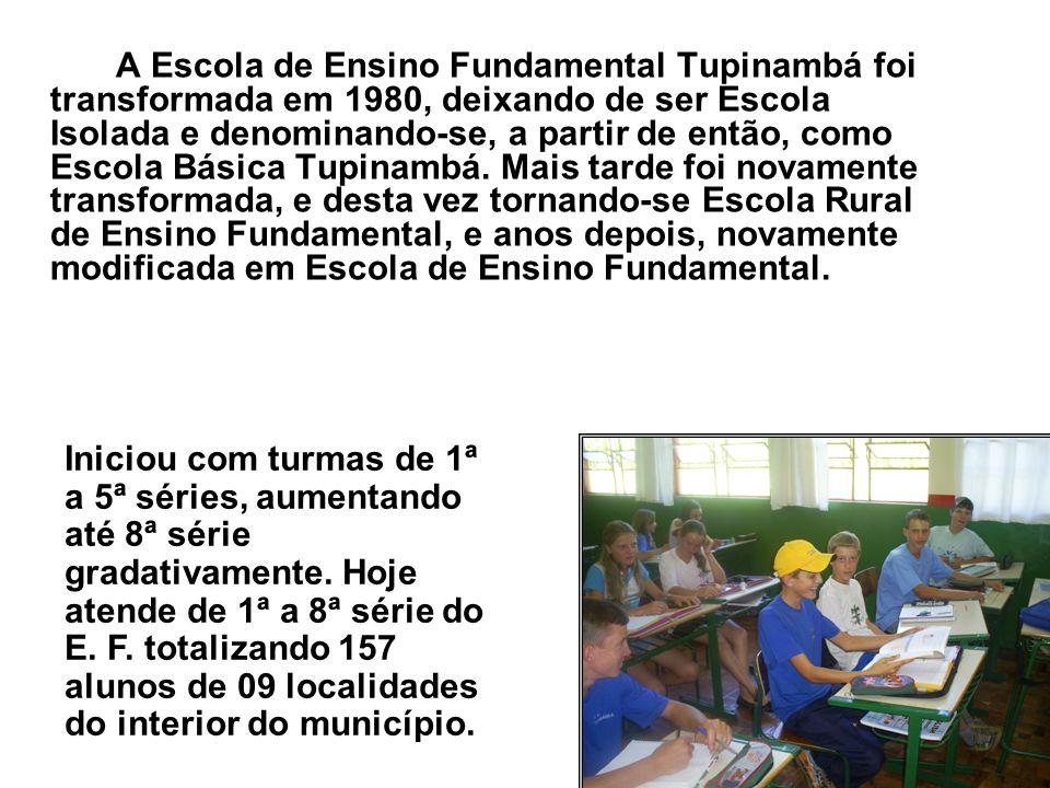 A Escola de Ensino Fundamental Tupinambá foi transformada em 1980, deixando de ser Escola Isolada e denominando-se, a partir de então, como Escola Bás