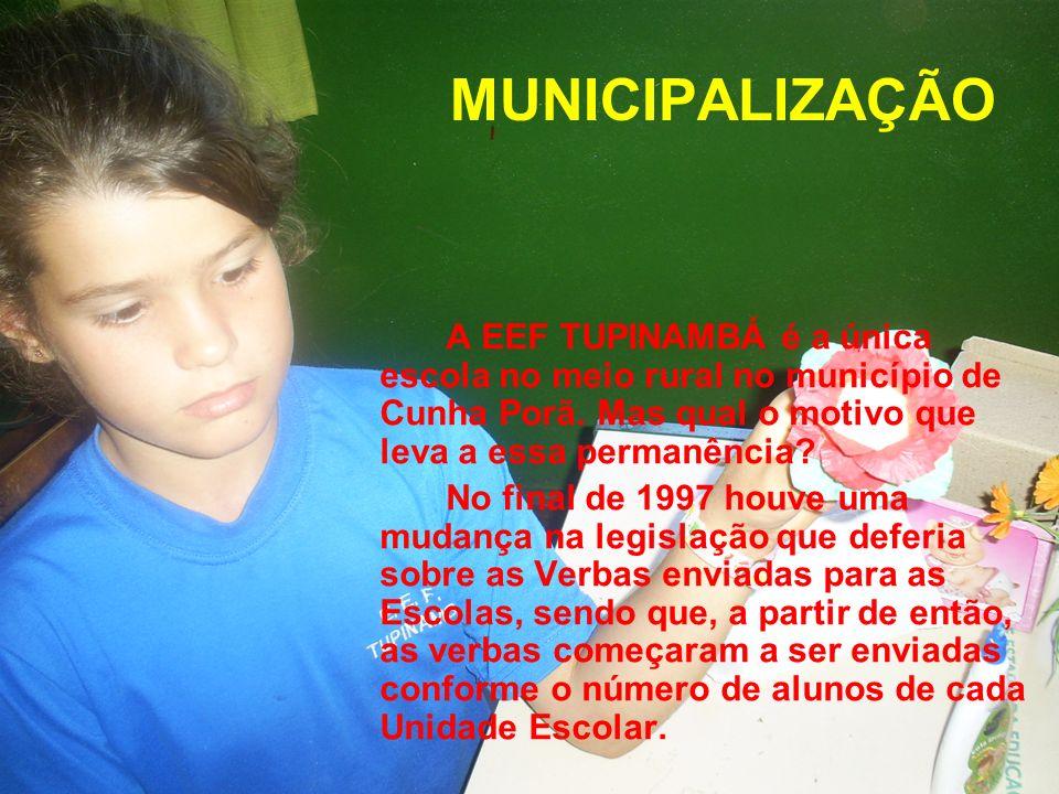 MUNICIPALIZAÇÃO A EEF TUPINAMBÁ é a única escola no meio rural no município de Cunha Porã. Mas qual o motivo que leva a essa permanência? No final de