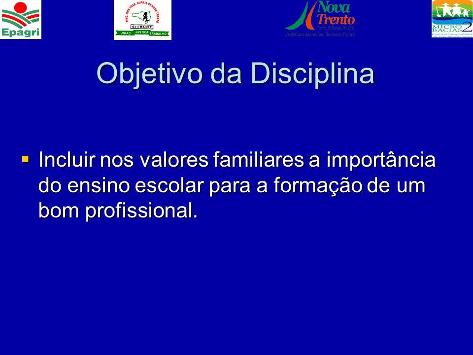Objetivo da Disciplina Incluir nos valores familiares a importância do ensino escolar para a formação de um bom profissional. Incluir nos valores fami