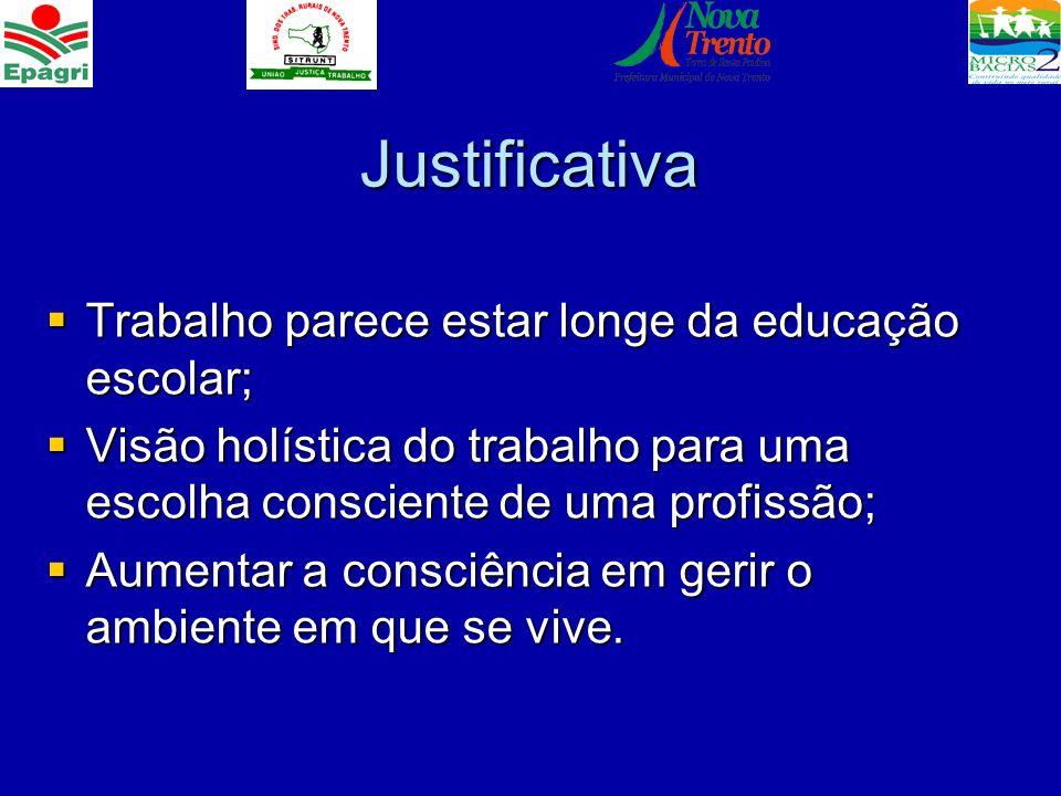 Justificativa Trabalho parece estar longe da educação escolar; Trabalho parece estar longe da educação escolar; Visão holística do trabalho para uma e