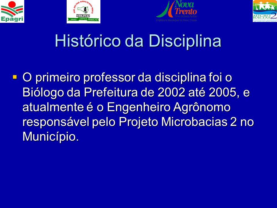 Histórico da Disciplina O primeiro professor da disciplina foi o Biólogo da Prefeitura de 2002 até 2005, e atualmente é o Engenheiro Agrônomo responsá