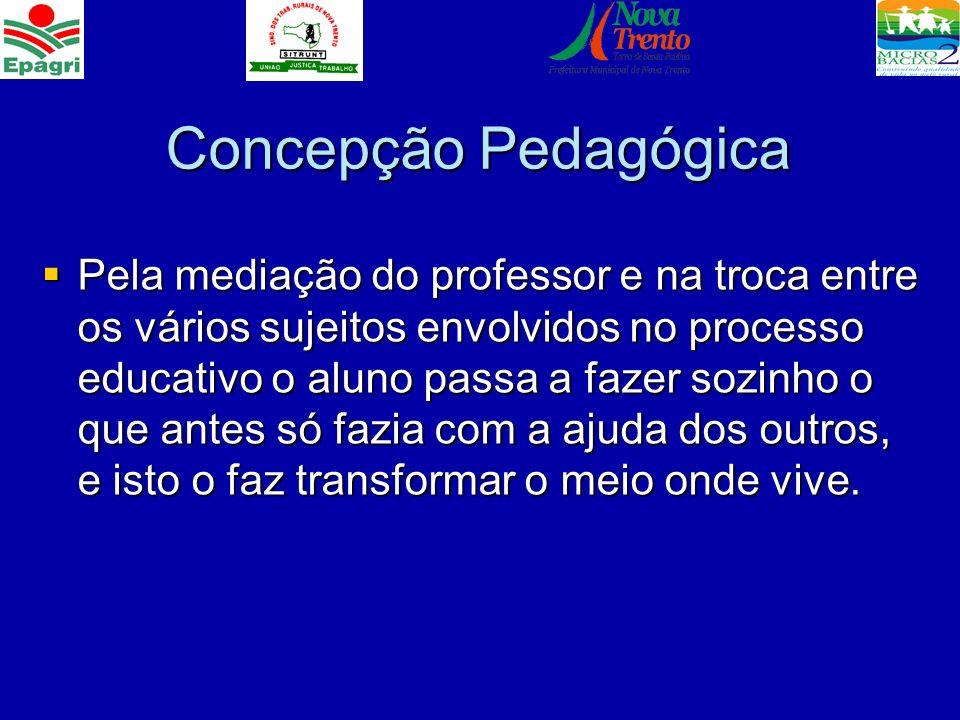 Concepção Pedagógica Pela mediação do professor e na troca entre os vários sujeitos envolvidos no processo educativo o aluno passa a fazer sozinho o q