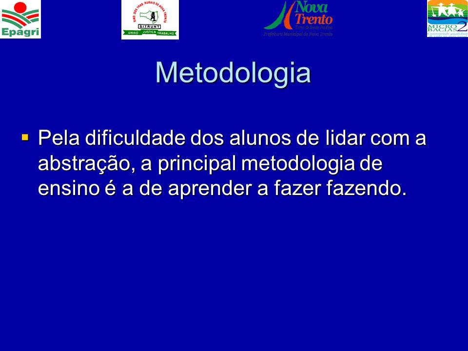Metodologia Pela dificuldade dos alunos de lidar com a abstração, a principal metodologia de ensino é a de aprender a fazer fazendo. Pela dificuldade