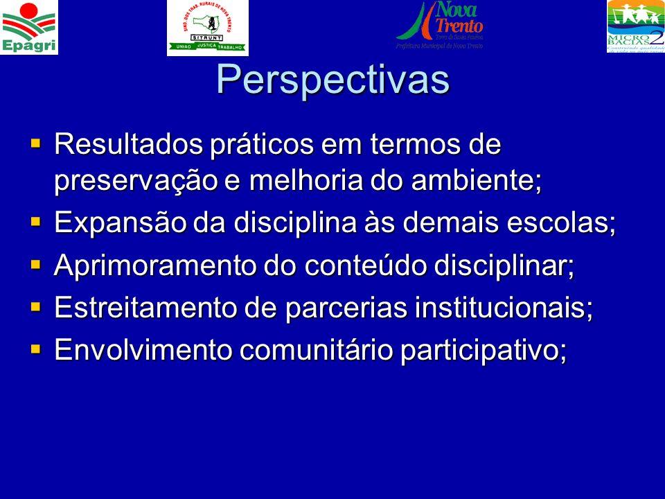 Perspectivas Resultados práticos em termos de preservação e melhoria do ambiente; Resultados práticos em termos de preservação e melhoria do ambiente;