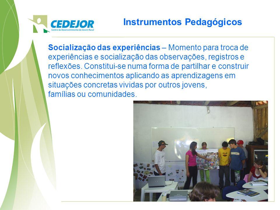 Instrumentos Pedagógicos Socialização das experiências – Momento para troca de experiências e socialização das observações, registros e reflexões.