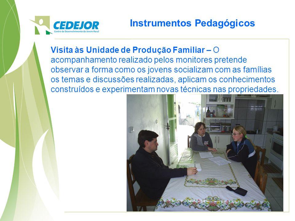 Instrumentos Pedagógicos Visita às Unidade de Produção Familiar – O acompanhamento realizado pelos monitores pretende observar a forma como os jovens