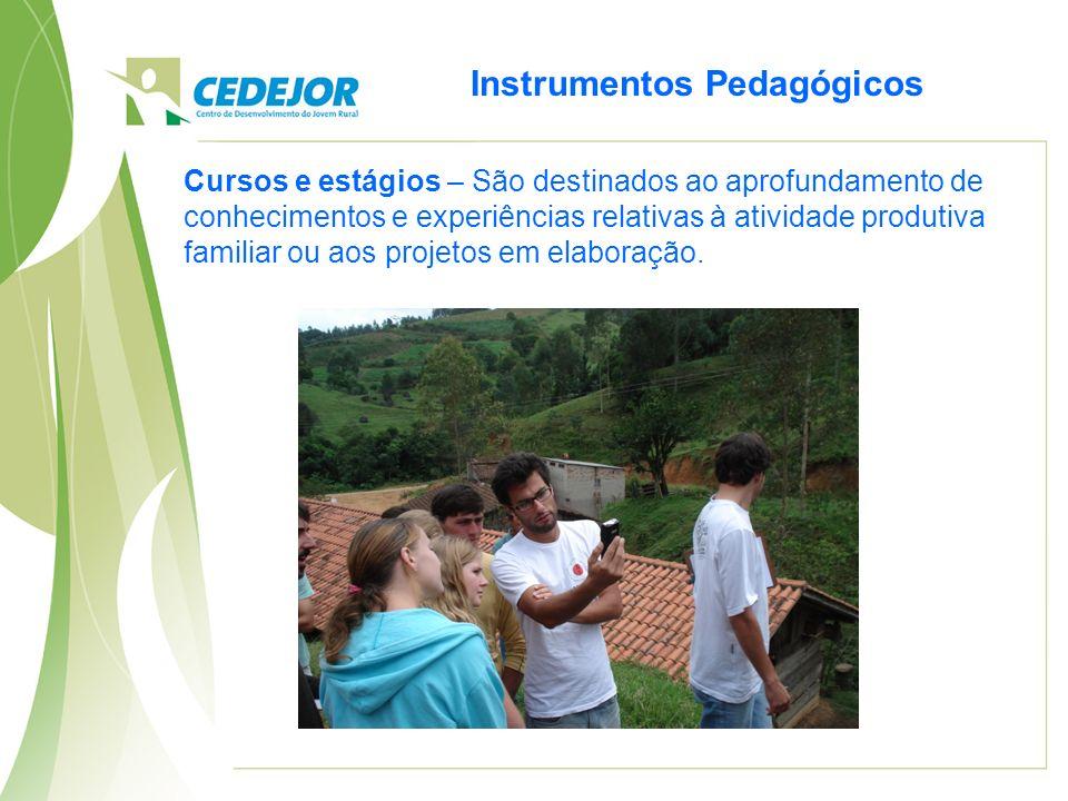 Instrumentos Pedagógicos Cursos e estágios – São destinados ao aprofundamento de conhecimentos e experiências relativas à atividade produtiva familiar ou aos projetos em elaboração.