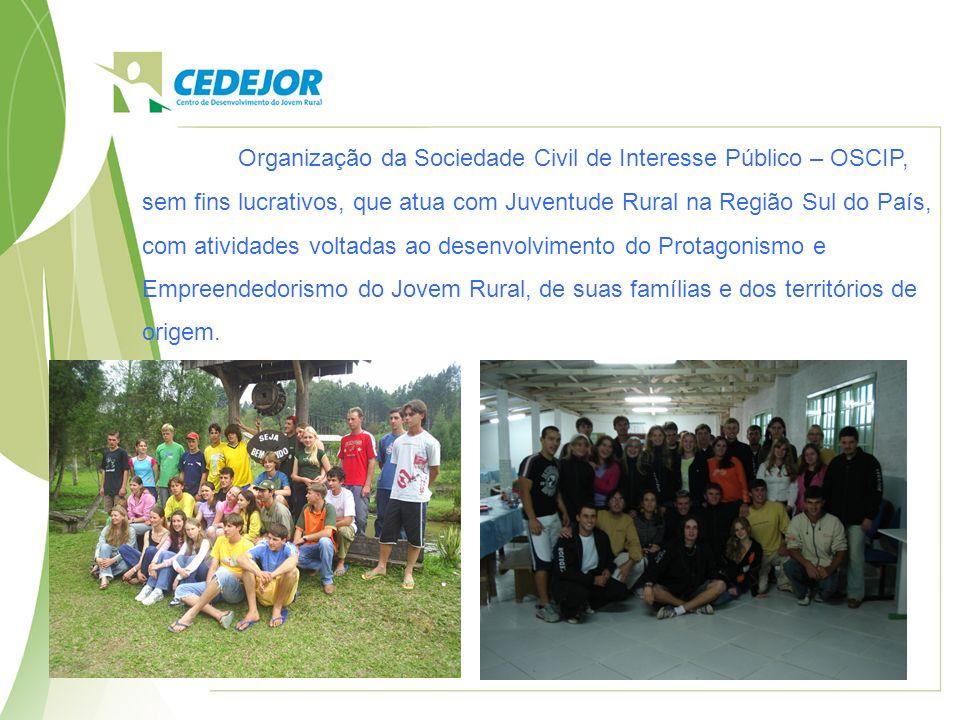 Organização da Sociedade Civil de Interesse Público – OSCIP, sem fins lucrativos, que atua com Juventude Rural na Região Sul do País, com atividades v