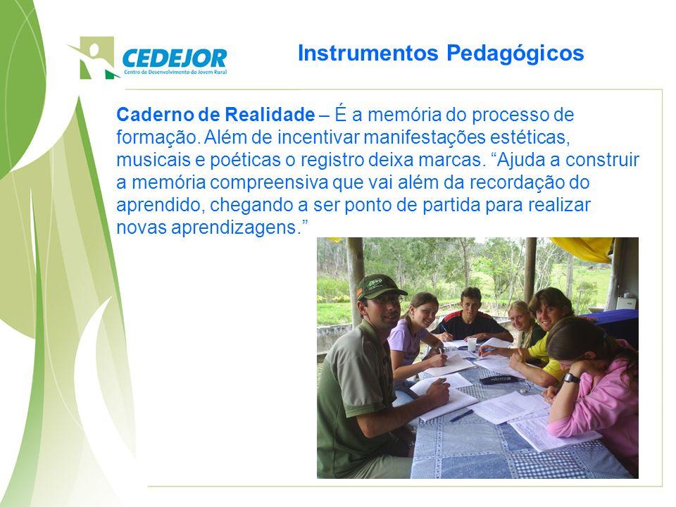Instrumentos Pedagógicos Caderno de Realidade – É a memória do processo de formação. Além de incentivar manifestações estéticas, musicais e poéticas o
